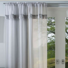 Amber Voile, Silver - Ready Made Curtain
