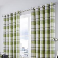 Balmoral Check Eyelet, Green - Ready Made Curtains