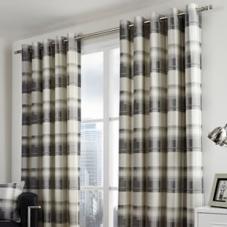 Balmoral Check Eyelet, Slate - Ready Made Curtains
