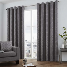 Camberwell Eyelet, Graphite - Ready Made Curtains