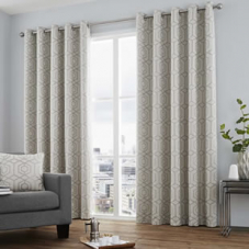 Camberwell Eyelet, Silver - Ready Made Curtains