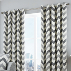 Chevron Eyelet, Grey - Ready Made Curtains
