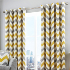 Chevron Eyelet, Yellow Ochre - Ready Made Curtains