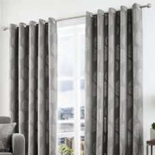 Helsinki Eyelet, Graphite - Ready Made Curtains