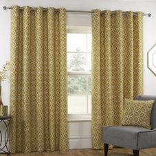 Kelso (Eyelet), Ochre - Ready Made Curtains