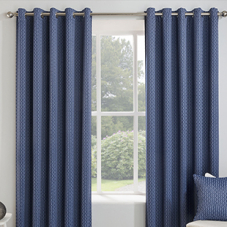 Miami Eyelet (Thermal Dimout), Navy - Ready Made Curtains