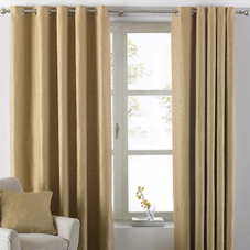 Oxford Eyelet (Dimout), Ochre - Ready Made Curtains