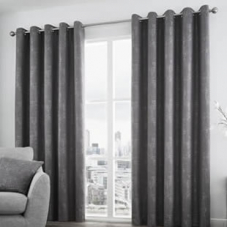 Solent Eyelet, Graphite - Ready Made Curtains