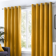 Sorbonne Eyelet, Ochre - Ready Made Curtains