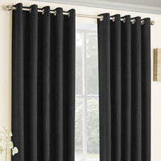 Vogue Eyelet (Thermal Dimout), Black - Ready Made Curtains