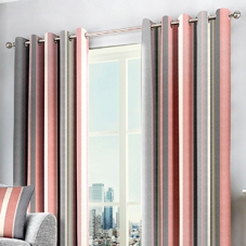 Whitworth Stripe Eyelet, Blush - Ready Made Curtains