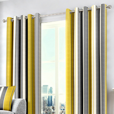 Whitworth Stripe Eyelet, Ochre - Ready Made Curtains