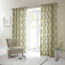 Woodland Trees Eyelet, Green - Ready Made Curtains