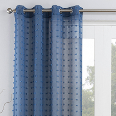 Bali Eyelet Voile, Blue - Ready Made Curtain