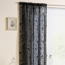 Birdcage Voile, Black - Ready Made Curtain