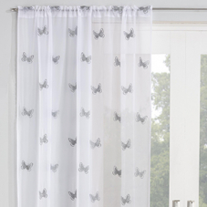 Butterfly Voile, Grey - Ready Made Curtain