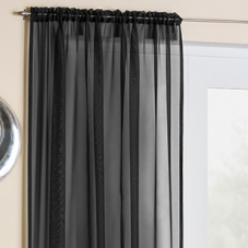 Crystal Voile, Black - Ready Made Curtain