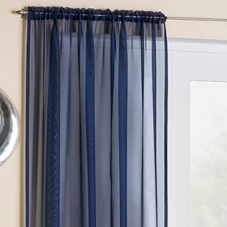 Crystal Voile, Navy - Ready Made Curtain