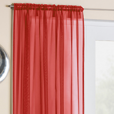 Crystal Voile, Red - Ready Made Curtain