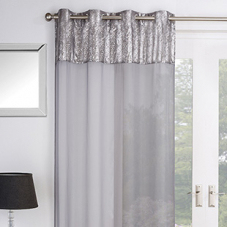 Empire Eyelet Voile, Silver - Ready Made Curtain