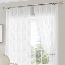 Fauna Voile, White - Ready Made Curtain