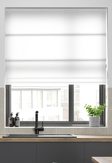 Faux Suede, White - Roman Blind
