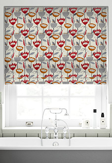Flower Power, Scarlet - Roman Blind