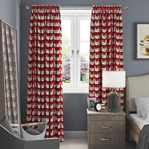 Cluck Cluck, Scarlet - Made to Measure Curtains