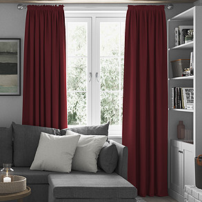 Faux Suede, Red - Made to Measure Curtains