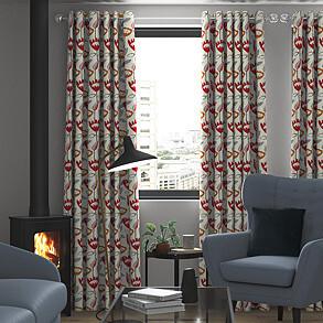 Flower Power, Scarlet - Made to Measure Curtains