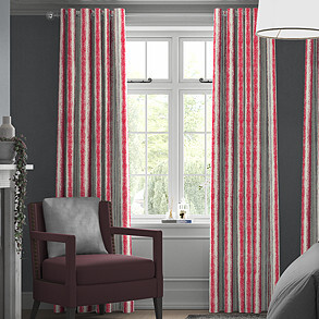 Guarda Stripe, Cherry - Made to Measure Curtains