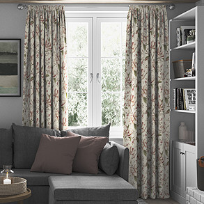Lilium, Soft Red - Made to Measure Curtains