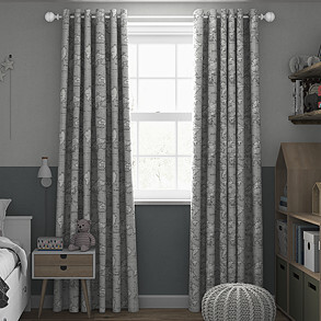 Maps, Grey - Made to Measure Curtains
