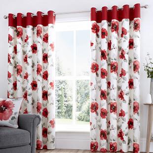 Adriana Eyelet, Red - Ready Made Curtains