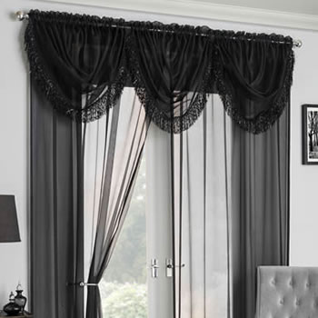 Amber Voile, Black - Ready Made Curtain