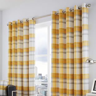 Balmoral Check Eyelet, Ochre - Ready Made Curtains