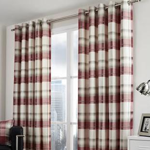 Balmoral Check Eyelet, Ruby - Ready Made Curtains