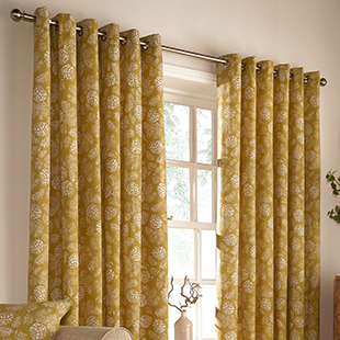 Carolina Eyelet (Dimout), Mustard - Ready Made Curtains