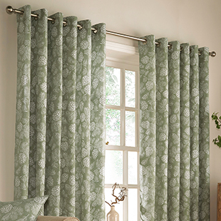 Carolina Eyelet (Dimout), Sage - Ready Made Curtains