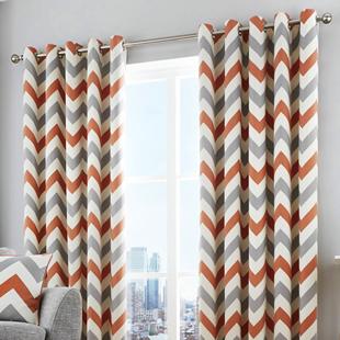 Chevron Eyelet, Terracotta - Ready Made Curtains