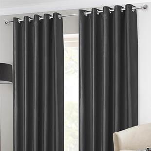 Faux Silk Eyelet, Black - Ready Made Curtains