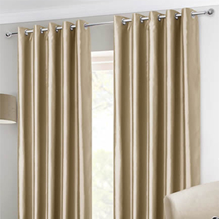 Faux Silk Eyelet, Mink - Ready Made Curtains