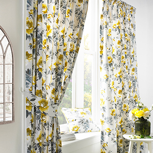 Floral (Dimout), Ochre - Ready Made Curtains