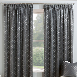Gemini (Dimout), Grey - Ready Made Curtains