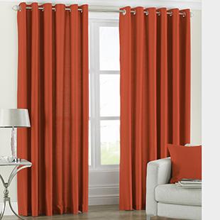Georgia Eyelet, Burnt Orange - Ready Made Curtains