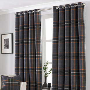 Harris Eyelet (Thermal Dimout), Rust - Ready Made Curtains