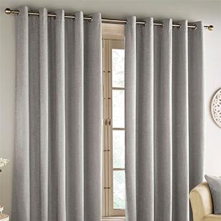 Savoy Eyelet (Blackout), Grey - Ready Made Curtains
