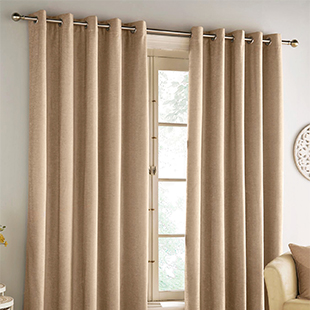Savoy Eyelet (Blackout), Sand - Ready Made Curtains