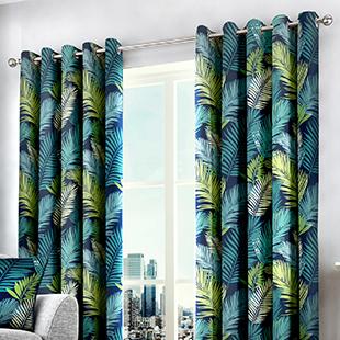 Tropical Eyelet, Multicolour - Ready Made Curtains