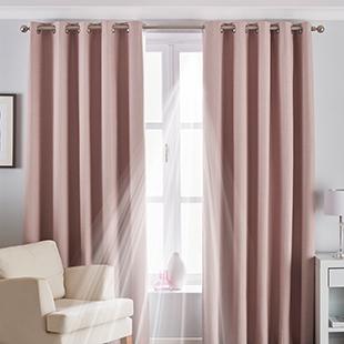 Twilight Eyelet (Thermal Blackout), Blush Pink - Ready Made Curtains